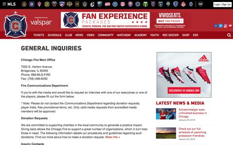 Screenshot of Contact Page chicago-fire.com - General Inquiries | Chicago Fire - captured Jan. 26, 2018