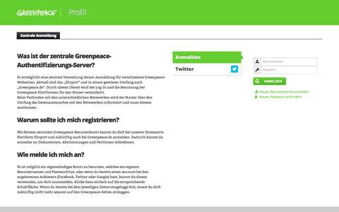 Screenshot of Login Page greenpeace.de - Zentrale Anmeldung | Profil - captured June 8, 2018