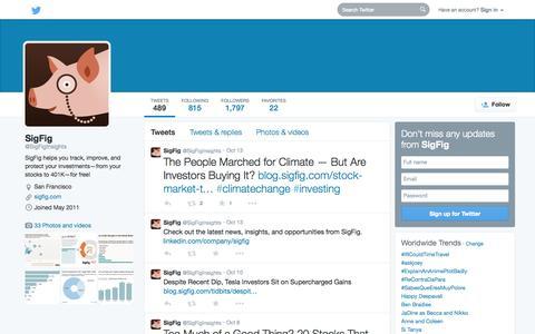 Screenshot of Twitter Page twitter.com - SigFig  (@SigFigInsights) | Twitter - captured Oct. 22, 2014