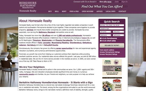 Screenshot of About Page homesale.com - About Homesale Realty - Maryland & Pennsylvania Realtors - captured Sept. 25, 2016