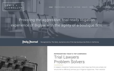 Screenshot of Home Page lewisllewellyn.com - Lewis & Llewellyn - Trial Lawyers. Problem Solvers. - captured July 31, 2017