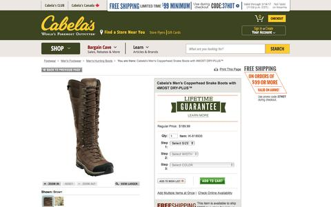 Cabela's Men's Copperhead Snake Boots with 4MOST DRY-PLUS™ : Cabela's