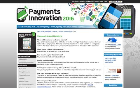 Screenshot of FAQ Page payments-australia.com.au - Payments Innovation 2016 - FAQs - captured March 16, 2016