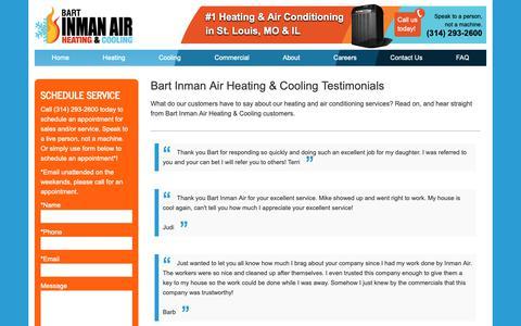 Screenshot of Testimonials Page inmanair.com - Bart Inman Air Reviews | Bart Inman Air - captured Dec. 19, 2018