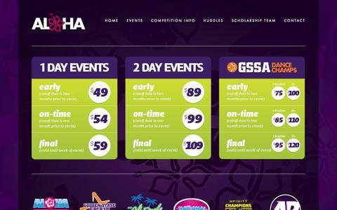 Screenshot of Pricing Page alohaspiritchamps.com - PRICING — Aloha International Spirit Championships - captured Oct. 4, 2014