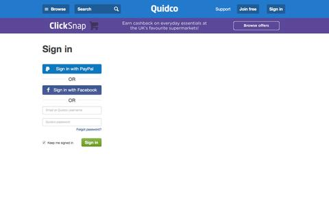 Screenshot of Login Page quidco.com - Quidco - Sign In - captured July 13, 2016