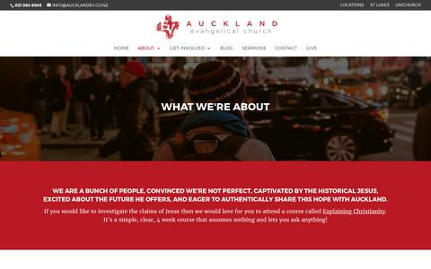 Screenshot of About Page aucklandev.co.nz - About | Auckland Evangelical Church - captured Oct. 9, 2017