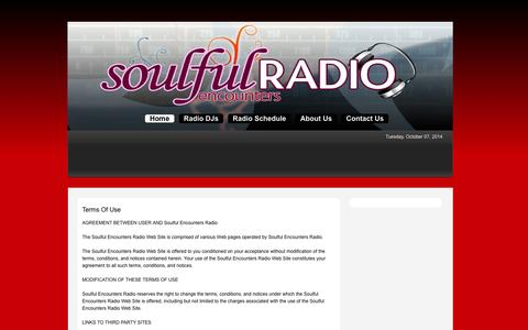 Screenshot of Terms Page soulfulencountersradio.com - Soulful Encounters Radio > Home - captured Oct. 7, 2014