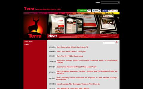 Screenshot of Press Page downundermunicipal.com - Terra Contracting : News - captured Oct. 5, 2014