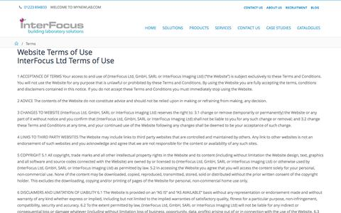 Screenshot of Terms Page mynewlab.com - Terms & Conditions | Interfocus - captured Oct. 15, 2017