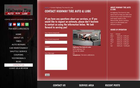 Screenshot of Contact Page highwaytirelkn.com - Contact Highway Tire Auto & Lube | Mooresville, NC - captured Aug. 14, 2017