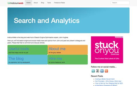 Screenshot of Home Page indiciumweb.co.uk - Home   Indicium - captured Sept. 30, 2014
