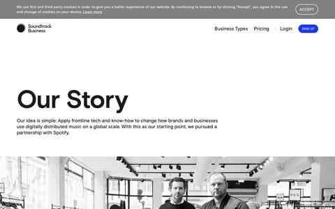 Screenshot of About Page soundtrackyourbrand.com - About | Soundtrack Business - captured Sept. 11, 2018