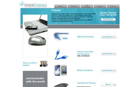 Screenshot of Products Page centralconnect.com.au - Central Connect - Products - captured Oct. 2, 2014