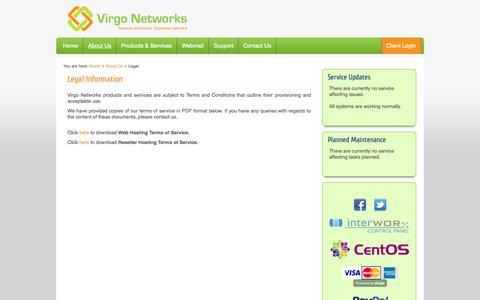 Screenshot of Terms Page virgo-networks.co.uk - Virgo Networks   Legal - captured Oct. 7, 2014