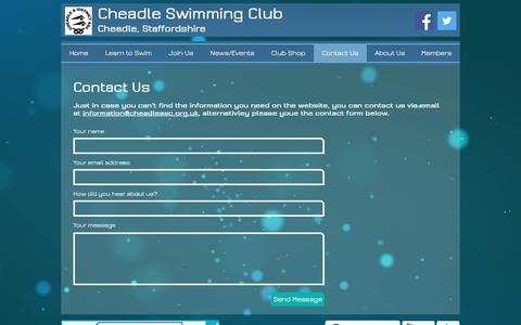 Screenshot of Contact Page cheadleasc.org.uk - Cheadle Swimming Club | Contact Us - captured Nov. 5, 2016