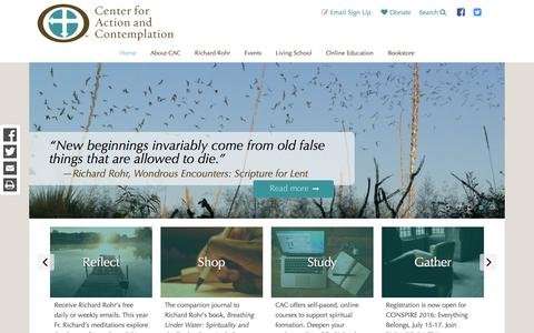 Screenshot of Home Page cac.org - Center for Action and Contemplation - captured Jan. 20, 2016