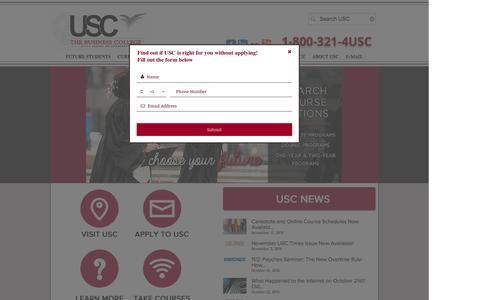 Screenshot of Home Page uscny.edu - Utica School of Commerce - captured Nov. 18, 2016