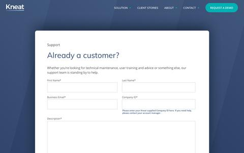 Screenshot of Support Page kneat.com - Support | Kneat - captured Oct. 15, 2018