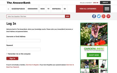 Screenshot of Login Page theanswerbank.co.uk - Sign In - The AnswerBank - captured Sept. 22, 2018