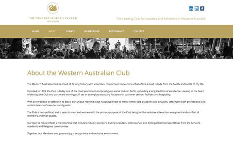 Screenshot of About Page waclub.com.au - About the Western Australian Club - Perth's Leading Business Club | Commerce & Industry (Inc) - captured Feb. 16, 2016