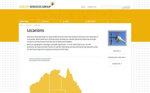 Screenshot of Locations Page utilityservicesgroup.com.au - Locations | Utility Services Group (USG) - captured Oct. 1, 2014