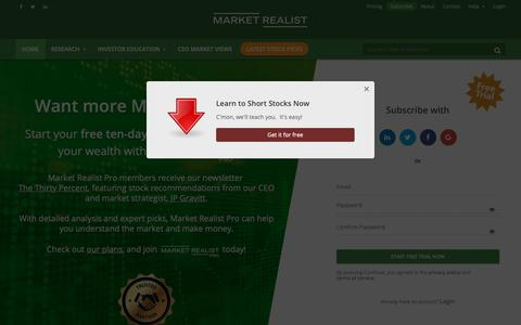 Screenshot of Signup Page marketrealist.com - Market Realist - captured March 7, 2019