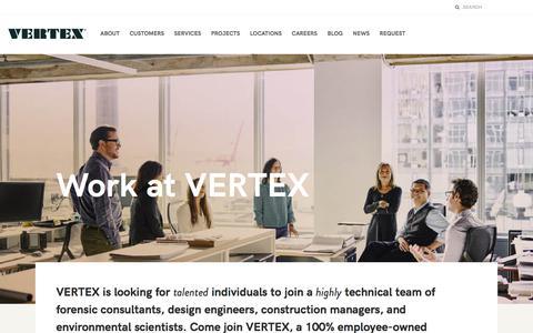 Screenshot of Jobs Page vertexeng.com - The Vertex Companies, Inc.  |  Work at VERTEX - captured July 9, 2018