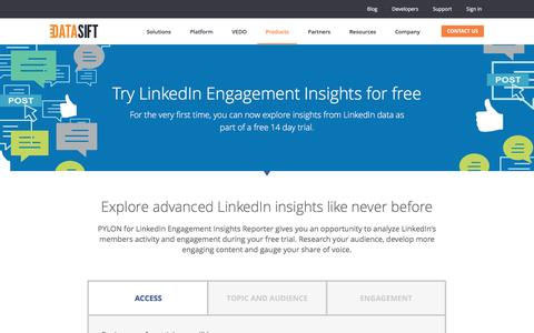 Screenshot of Trial Page datasift.com - Try LinkedIn Engagement Insights for free | DataSift - captured March 4, 2017