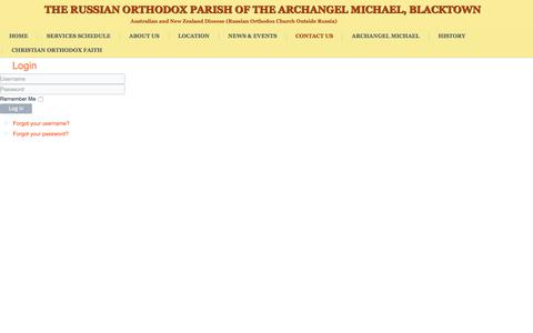 Screenshot of Login Page archangelmichael.net.au - Login - Parish of the Archangel Michael - captured Dec. 1, 2016