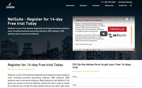 Screenshot of Trial Page bistasolutions.com - NetSuite Free trial   Register for 14 day and get access - captured March 3, 2018