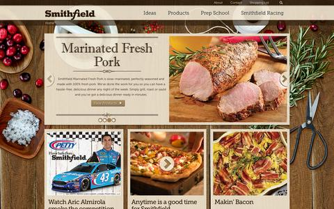 Screenshot of Home Page smithfield.com - Home - Smithfield.com | Flavor hails from Smithfield. - captured Feb. 16, 2016