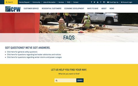 Screenshot of FAQ Page greercpw.com - FAQS - Greer Commission of Public Works - captured Sept. 30, 2018