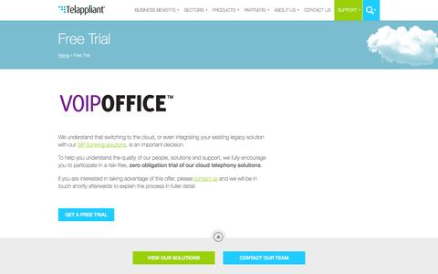Screenshot of Trial Page telappliant.com - Get a free VoIP trial for your business » Telappliant - captured Oct. 29, 2014