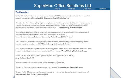 Screenshot of Testimonials Page supermac.biz - supermac   Testimonials - captured Oct. 25, 2017