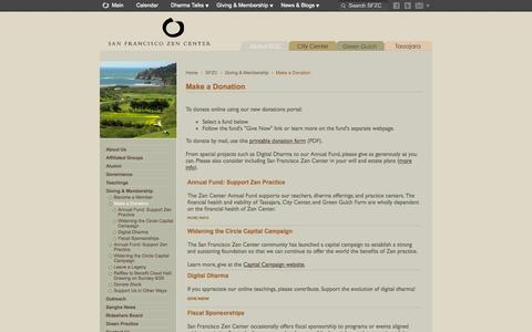 Screenshot of Support Page sfzc.org - Make a Donation -  San Francisco Zen Center - captured Oct. 4, 2014