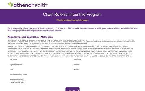 Screenshot of Landing Page athenahealth.com - athenaOne Client Online Lead Gen Agreement Form - captured Dec. 8, 2016
