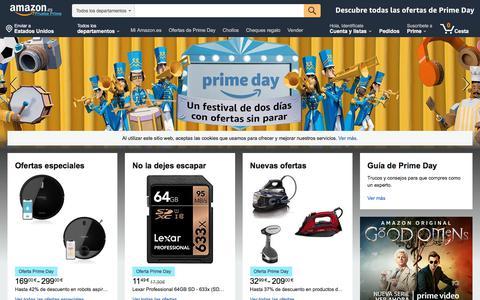 Screenshot of Home Page amazon.es - Amazon.es: compra online de electrónica, libros, deporte, hogar, moda y mucho más. - captured July 15, 2019