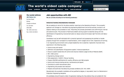 Screenshot of Jobs Page aeicables.co.uk - AEI Cables - The world's oldest cable company - captured Sept. 30, 2014