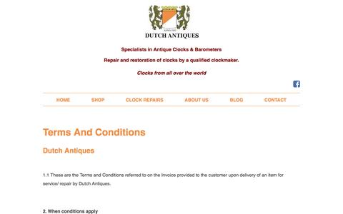 Screenshot of Terms Page dutchtimepieces.com - Terms and Conditions - Dutch Antiques - captured April 12, 2017