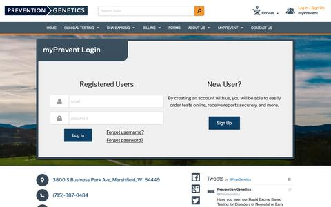 Screenshot of Support Page Login Page preventiongenetics.com - Login Index - PreventionGenetics - captured Dec. 8, 2018