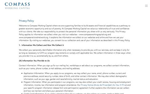 Screenshot of Privacy Page compassworkingcapital.org - Privacy Policy — Compass Working Capital - captured July 20, 2018