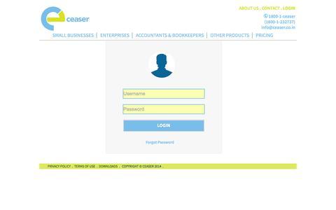 Screenshot of Login Page ceaser.co.in - Ceaser | Login Panel - captured Oct. 2, 2014