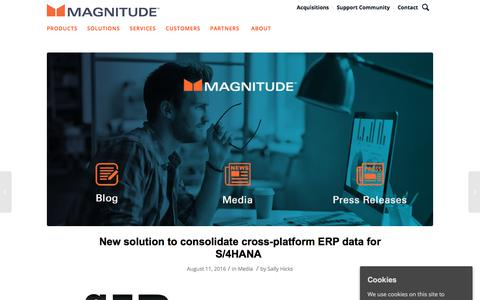 Screenshot of Press Page magnitude.com - New solution to consolidate cross-platform ERP data for S/4HANA - captured Oct. 3, 2019