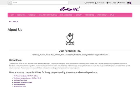 Screenshot of About Page eswanny.com - About Just Fantastic, Inc | Handbags, Hair Accessories and Costume Jewelry Wholesaler in New York - captured July 9, 2018