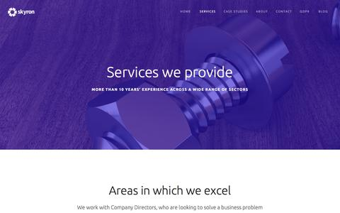 Screenshot of Services Page skyron.co.uk - Skyron - Services - captured July 5, 2018