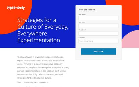 Screenshot of Landing Page optimizely.com - Strategies for a Culture of Everyday, Everywhere Experimentation - captured April 29, 2017