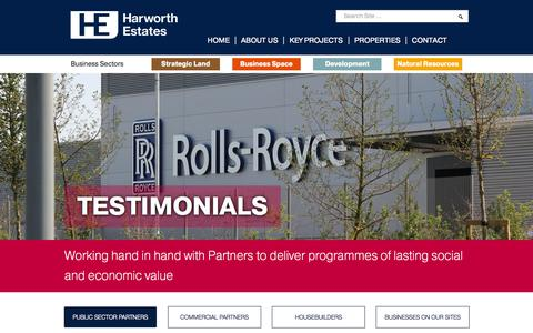 Screenshot of Testimonials Page harworthestates.co.uk - Harworth Estates | Transforming, Regenerating, Revitalising - captured Sept. 29, 2014