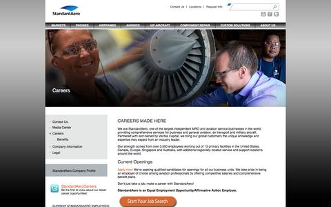 Screenshot of Jobs Page standardaero.com - StandardAero > About Us > Careers - captured Feb. 25, 2016