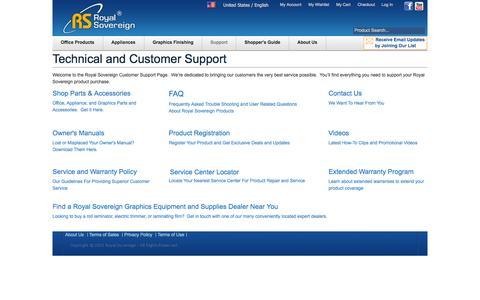 Screenshot of Support Page royalsovereign.com - Royal Sovereign Customer Support   Technical Support - captured Sept. 19, 2014